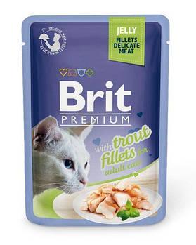 Влажный корм Brit для кошек кусочки из филе форели в желе, 85гр