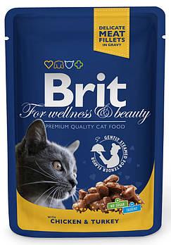 Влажный корм Brit кусочки c курицей и индейкой для кошек, 100 гр