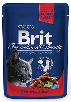 Влажный корм Brit кусочки говядины для взрослых кошек, 100 гр
