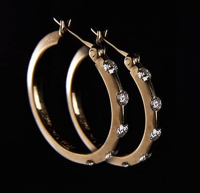 Женские серьги из желтого золота с бриллиантами С32Л1№9