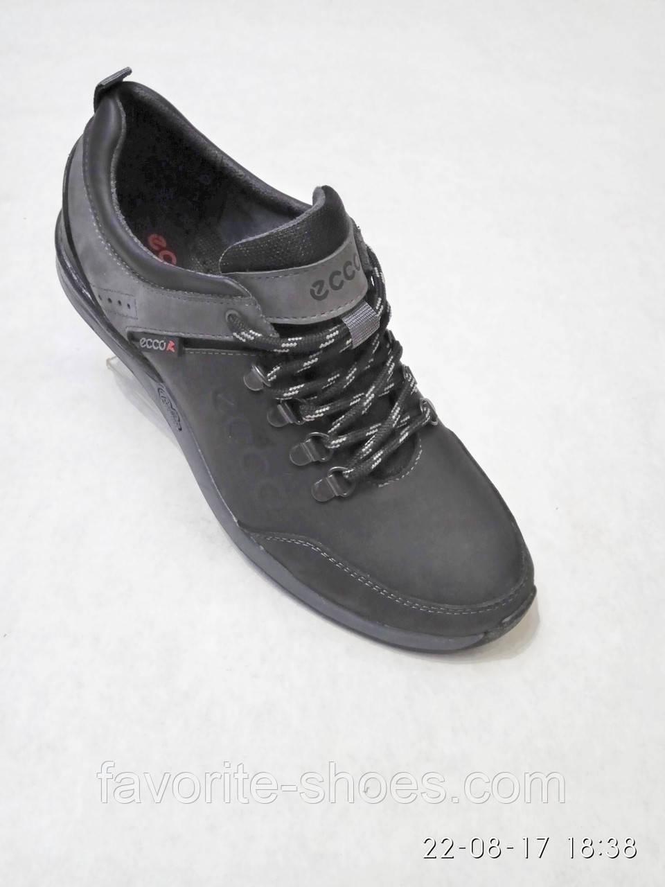 d331c7565 Кожаные мужские спортивные туфли черные ecco b52 - Интернет - магазин