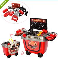 Детский игровой набор инструментов верстак-тележка 8014