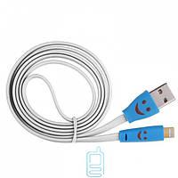 USB кабель Lightning iPhone 5S Smile с подсветкой белый