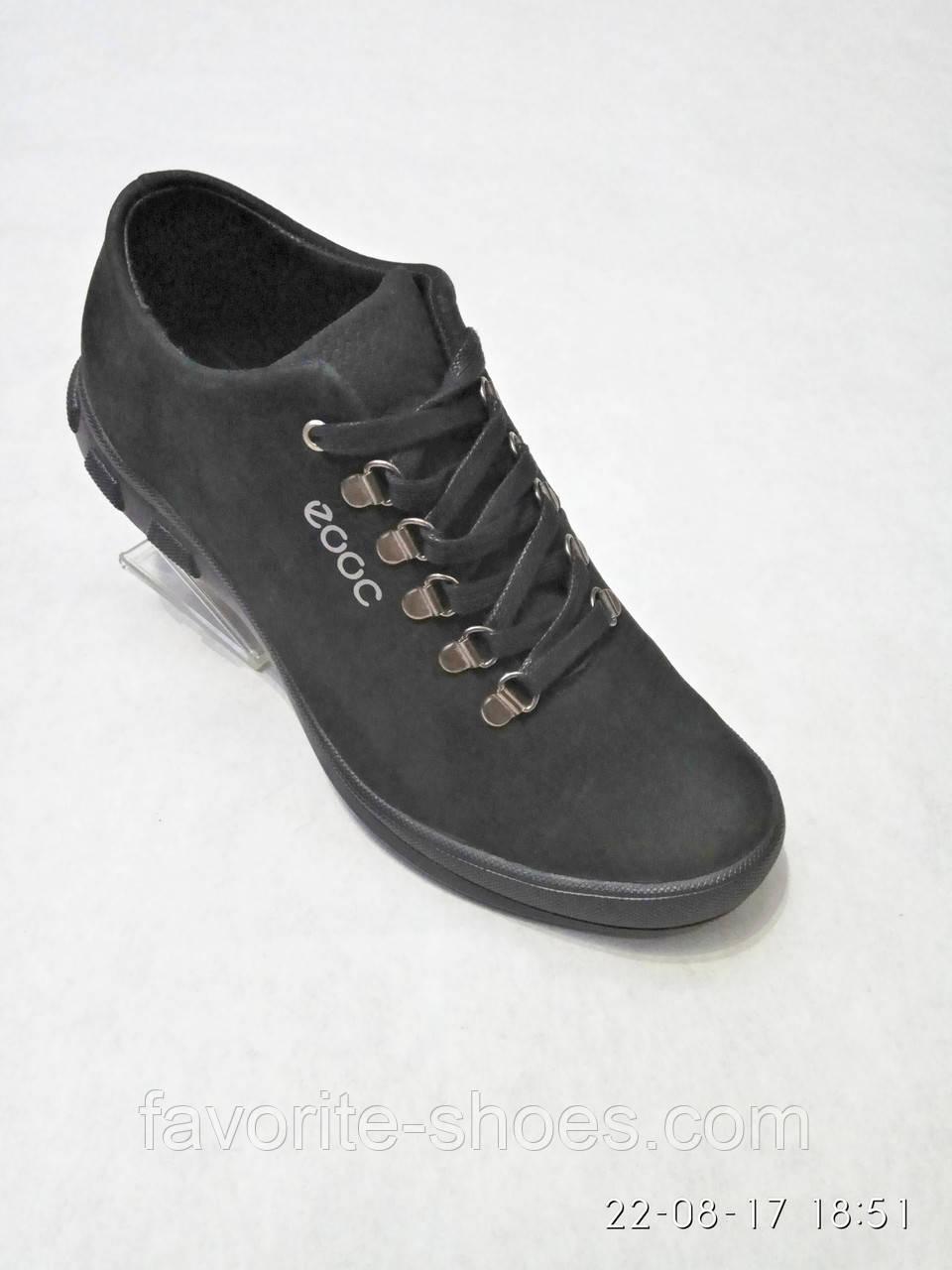 Кожаные мужские спортивные туфли черные стиль ecco 41 размер