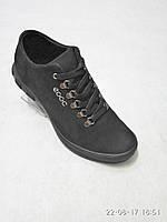 Кожаные мужские спортивные туфли черные стиль ecco