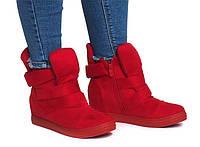 Женские сникерсы, кроссовки красного цвета на каждый день, фото 1