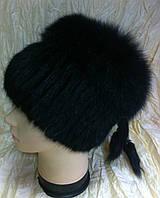 Меховая шапка из ондатры и песца чёрного цвета на вязанной основе
