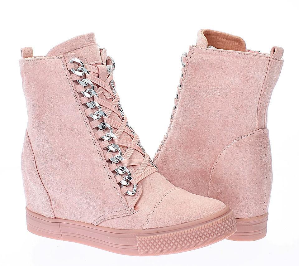 Сникерсы, ботинки женские весна-осень розового цвета размеры 39-41