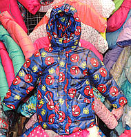Куртка на мальчика Еврозима флис+синтепон (4 размера) Синий паук