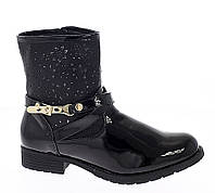 Лаковые женские ботинки без каблука