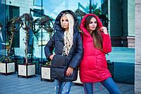 Женская стильная  зимняя куртка свободного кроя, в расцветках