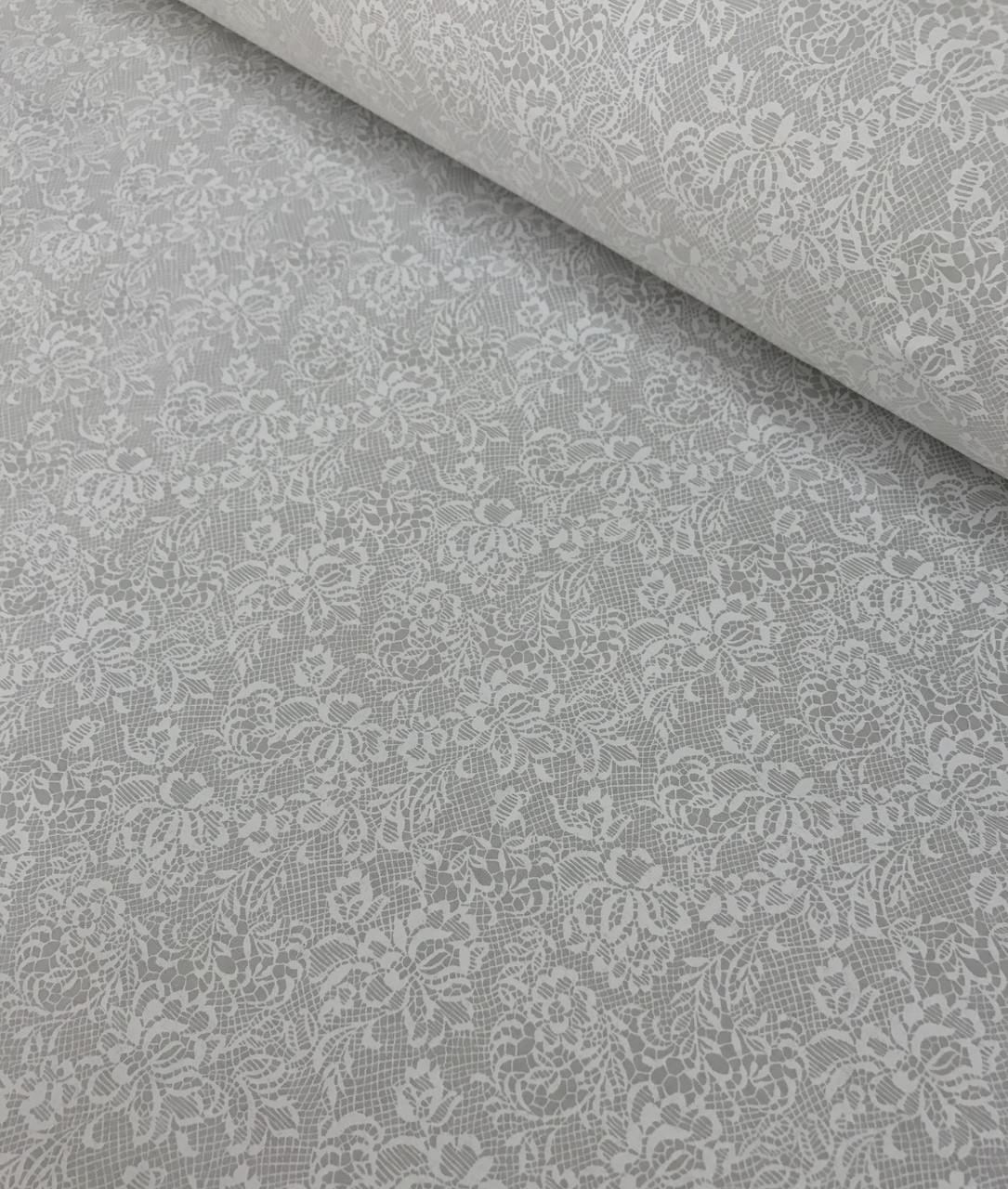 Хлопковая ткань премиум класса с белым кружевным узором на светло-сером №510