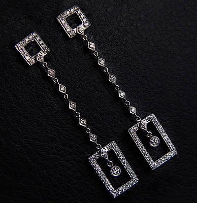 Женские серьги из белого золота с бриллиантами С33Л1№7