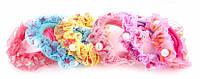 Детская резинка для волос украшенная бусинами разноцветная, 50 шт/уп, 15-15-11