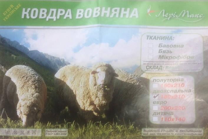 Овчина стеганая + прессованная одеяло 180*210 Лери Макс, фото 2