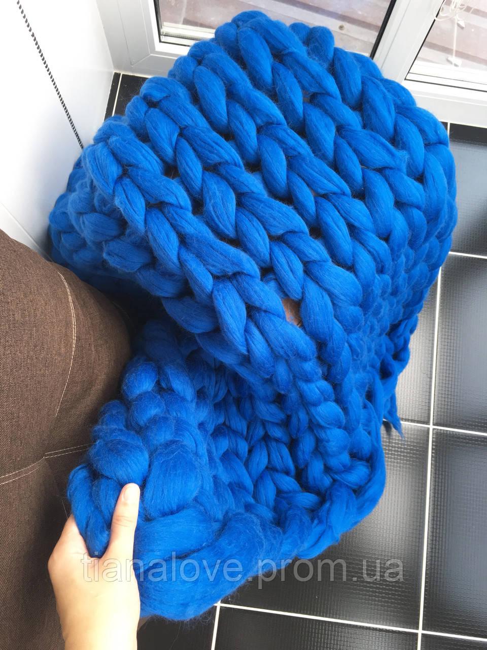 плед из шерсти мериноса 25 микрон толстая пряжа украина синий