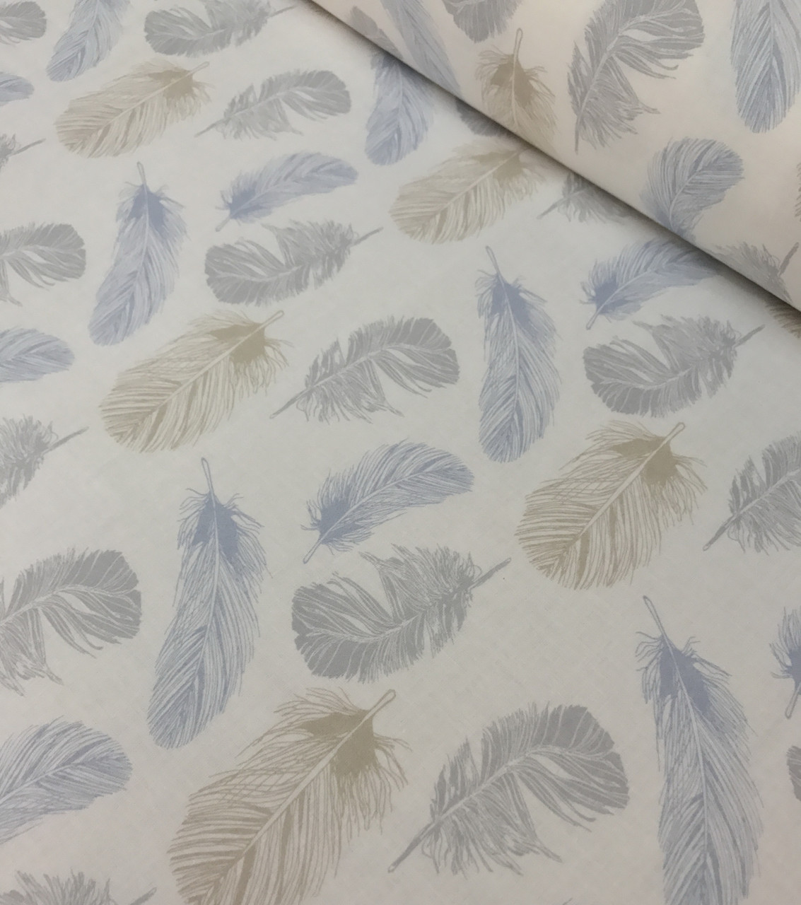 Хлопковая ткань польская премиум класса перья серо-коричнево-голубые №503