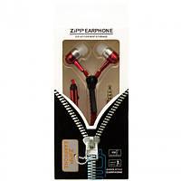 Наушники с микрофоном змейка Zipper New red