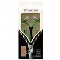Наушники с микрофоном змейка Zipper New green