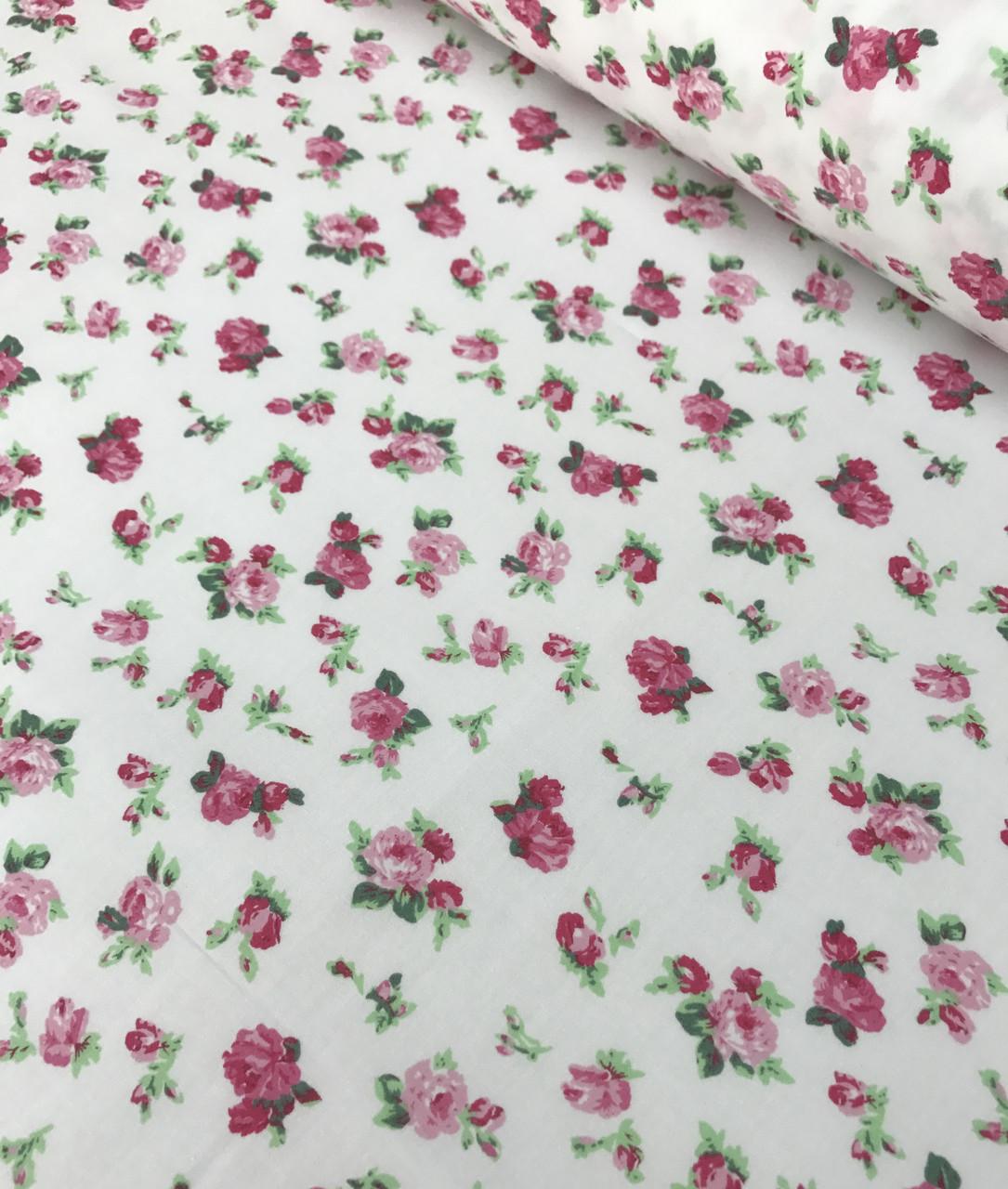 Хлопковая ткань польская премиум класса Mist розы на белом №501