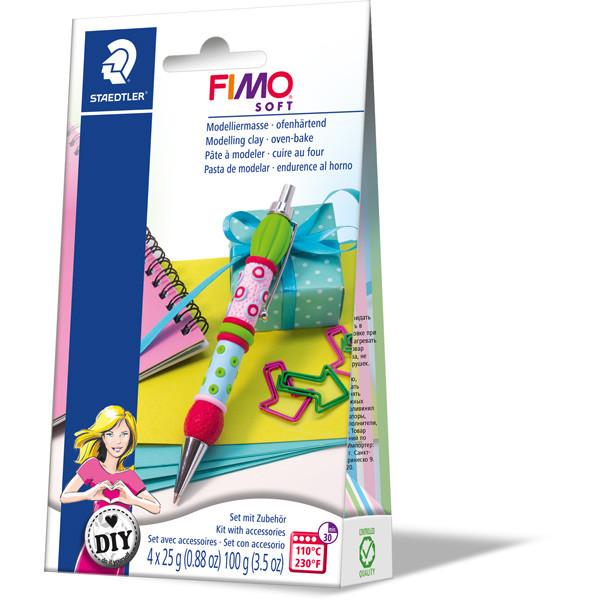 """Набор глины Фимо Софт FIMO Soft """"Ручка"""", 4блока глины для лепки, ручка,инструкция"""