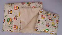Набор для новорожденного одеяло+подушка Совушки бежевого цвета