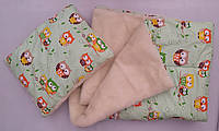Набор для новорожденного одеяло+подушка Совушки оливкового цвета