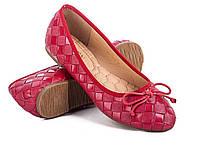 Женские балетки, натуральная кожа, красные. Размеры 36, 37, 38, 39, 40, 41. Seven 777-C109.