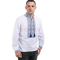 Белая мужская  рубашка с голубой вышивкой