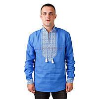 Синяя вышитая мужская рубашка со стойкой и длинным рукавом , фото 1