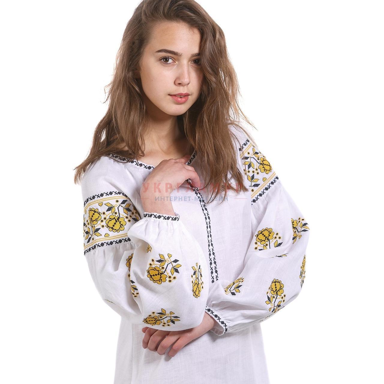 f27c28f16f2 Купить Женское вышитое белое платье с желтой вышивкой в Киеве