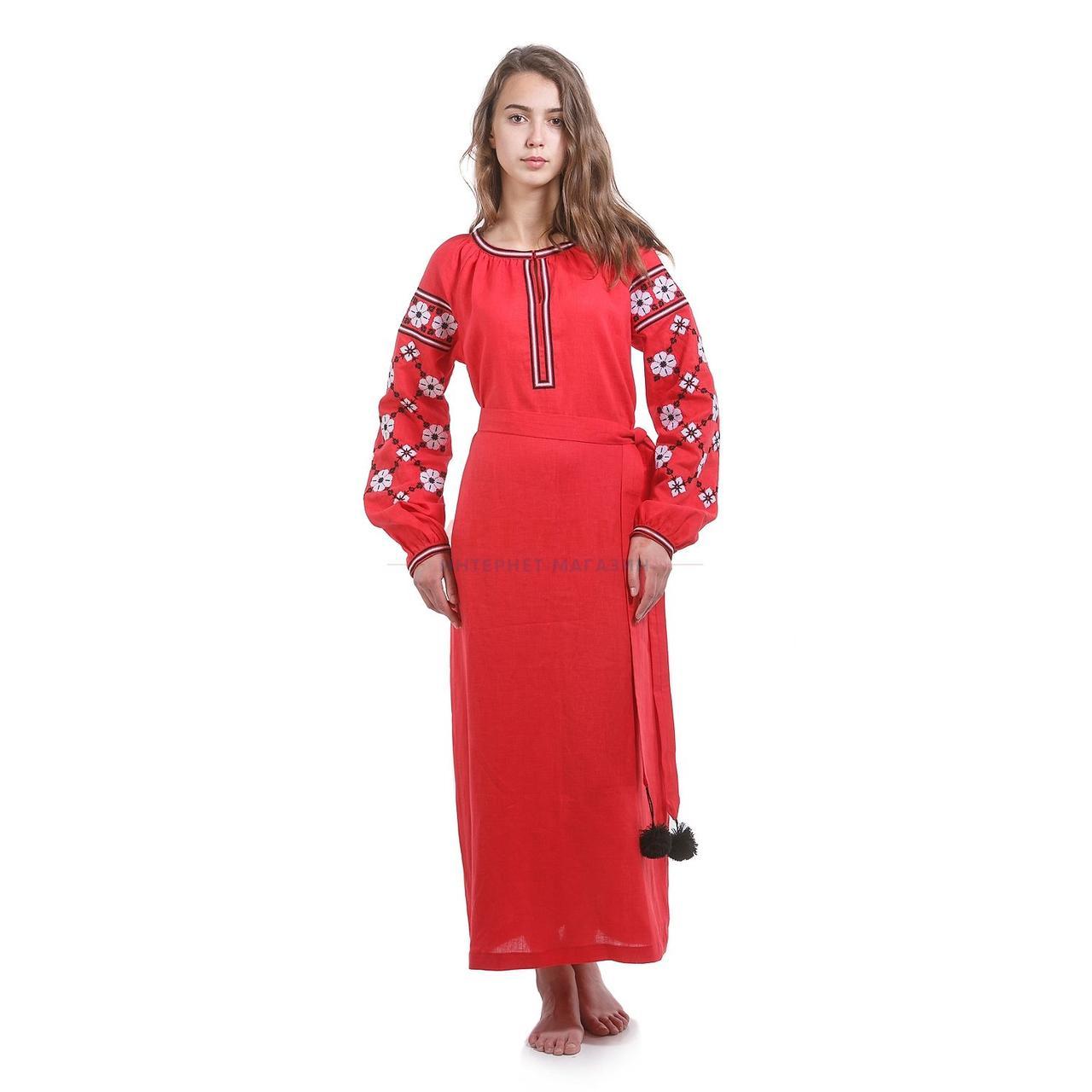 Вышитое дизайнерское красное платье с цветами