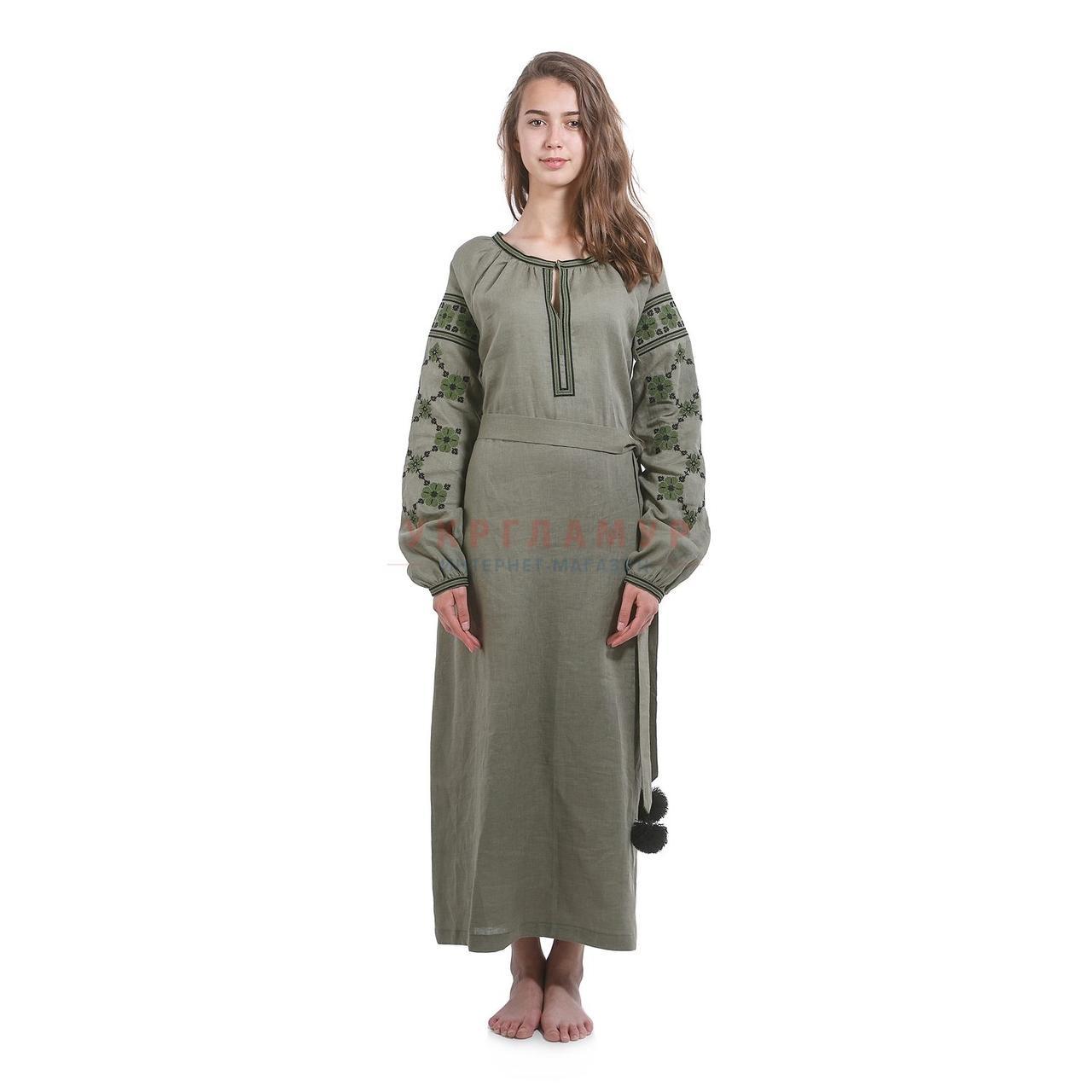 Вышитое дизайнерское платье цвета хаки
