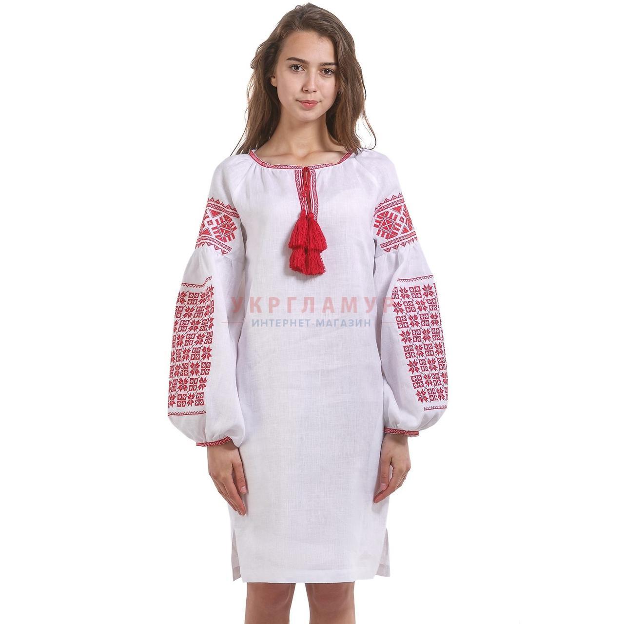 d11cbda09bd Купить Женское вышитое платье белое с красной вышивкой в Киеве