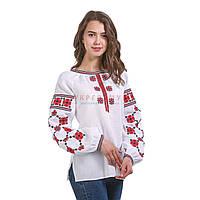 Белая вышитая дизайнерская женская рубашка, фото 1
