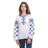Вышитая дизайнерская женская рубашка белая с синими цветами, фото 1