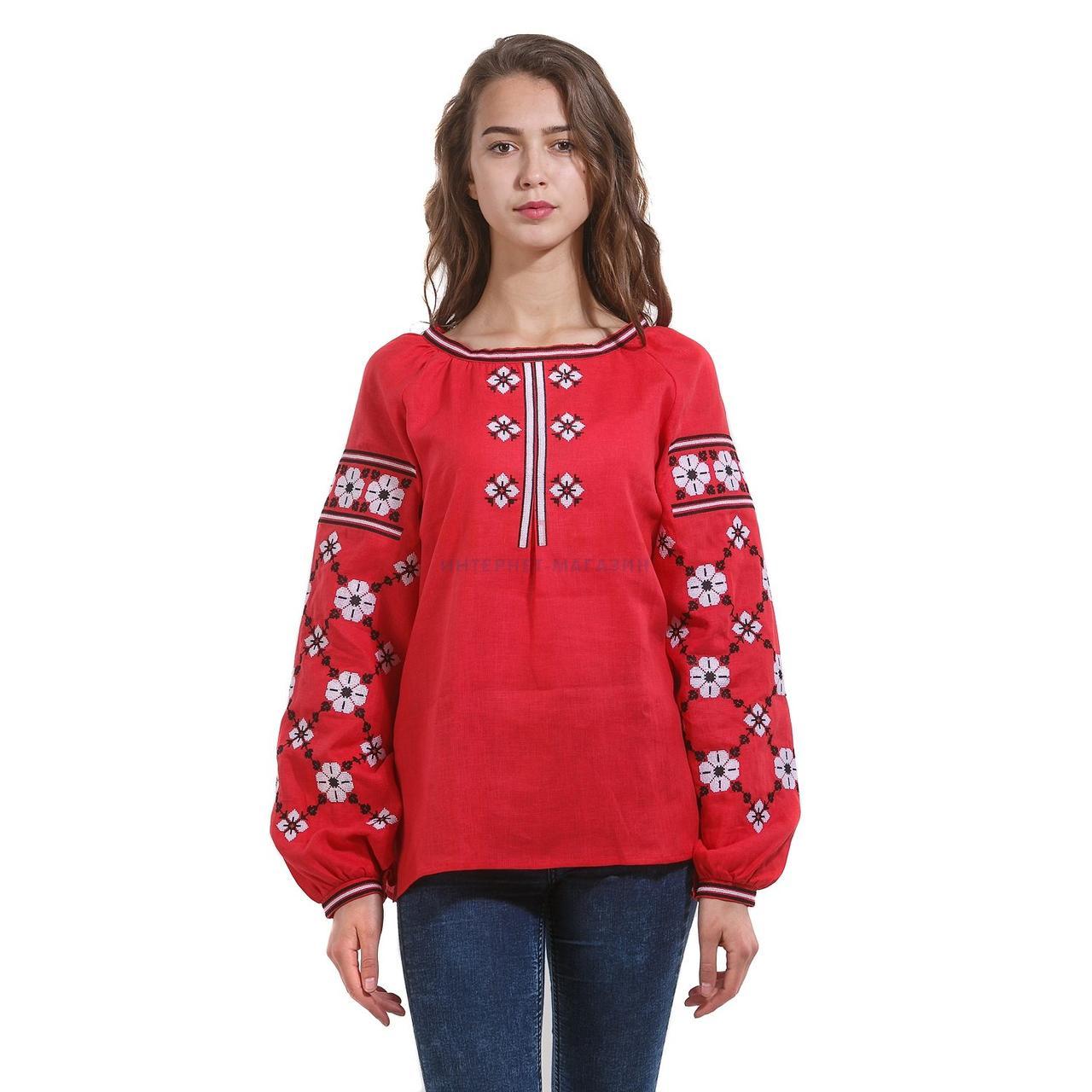 68217b5f3961762 Купить Красная вышитая дизайнерская женская рубашка в Киеве, цена, отзывы |  Вышиванко