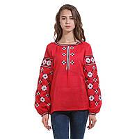 Красная вышитая дизайнерская женская рубашка