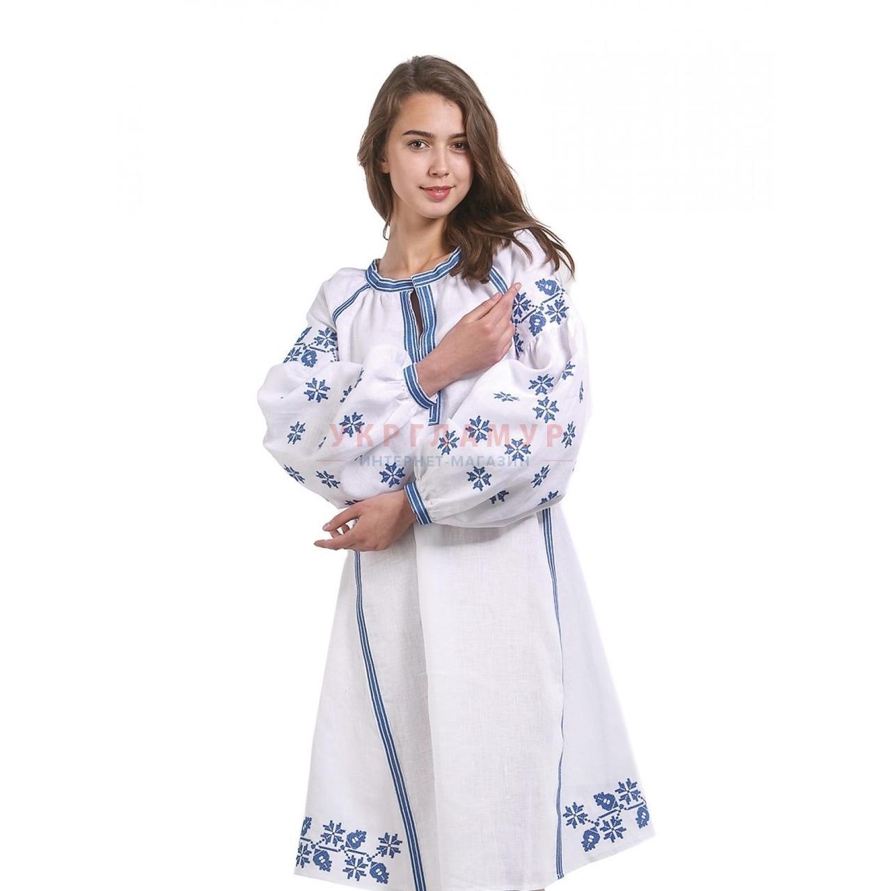 9ad24852fd5 Вышитое женское платье белое с синей вышивкой