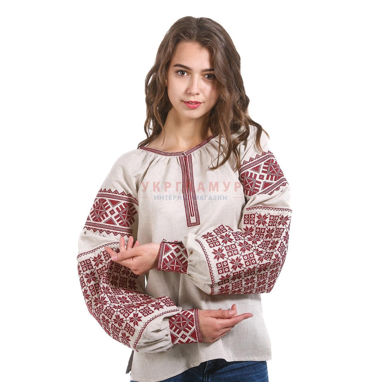 Женская серая вышитая рубашка с красным орнаментом