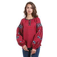 Бордовая вышитая женская дизайнерская блуза с голубой вышивкой