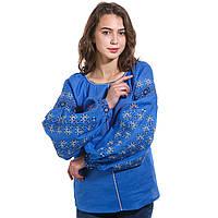 Вышитая женская дизайнерская блуза синяя, фото 1