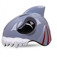 Шлем детский защитный с фонариком (белая акула)