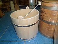 Ведро для бани деревянное, дуб, ручная работа, стальная оковка