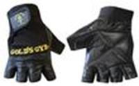 Перчатки тяжелоатлет. GOLDS GYM BC-3609 с напульс.(кожа, PL, эластан,откр.пальцы, р-р L,M,S,XL черный)