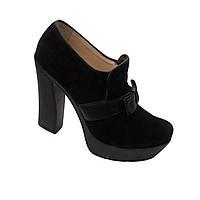 Туфли велюровые черного цвета весна-осень с высоким каблуком устойчивые