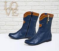 Ботинки из натуральной кожи темно-синего цвета, на низком ходу,  М-11