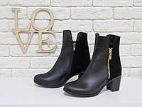 Ботинки в черном цвете из натуральной кожи и замши, на невысоком, устойчивом каблучке, М-114