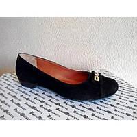 Туфли из натуральной замши Т-89 черного цвета цвет.