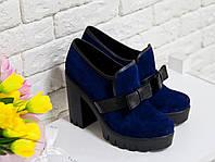 Туфли из натуральной замши насыщенного синего цвета на устойчивом каблуке, Коллекция Осень-Весна, Т-40